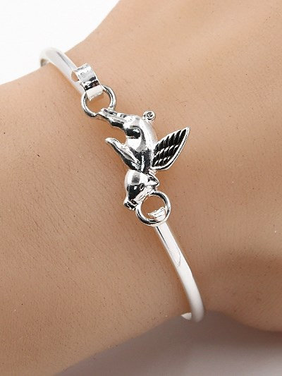 Flying Pig Hook Bracelet Silver Tone