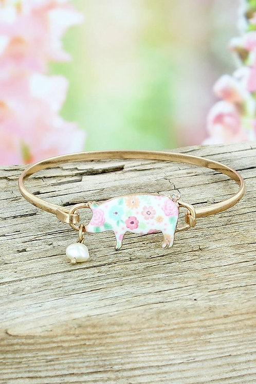 Flower Garden White Pig Burnished Silver Tone Bracelet.