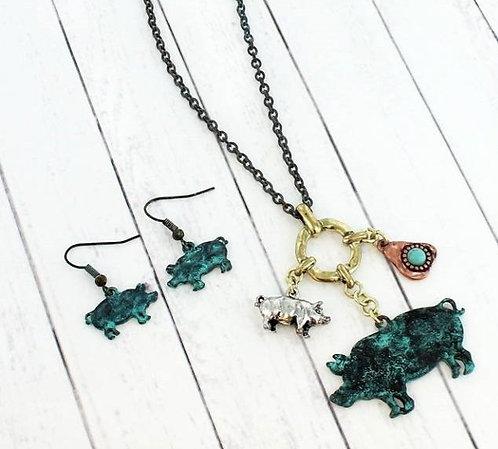 Patina Pig Charm Pendant Necklace & Earring Set