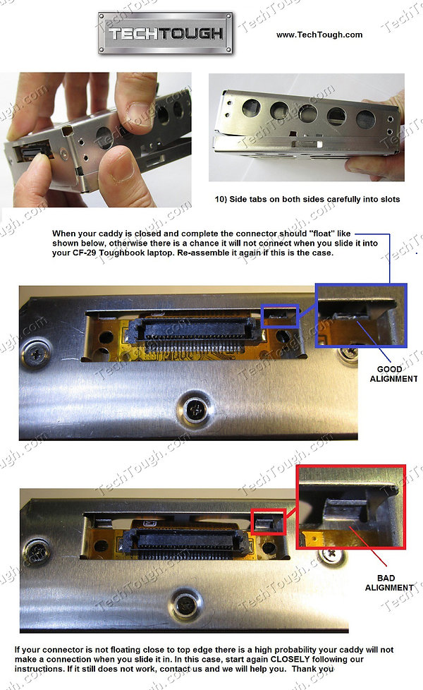 Instructions on how to install IDE/SATA adapter in Toughbook