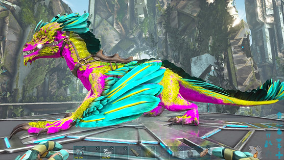185 Cyan, Pink And Yellow Rock Drake PS4 PVE OFFICIAL DEDICATED SERVER