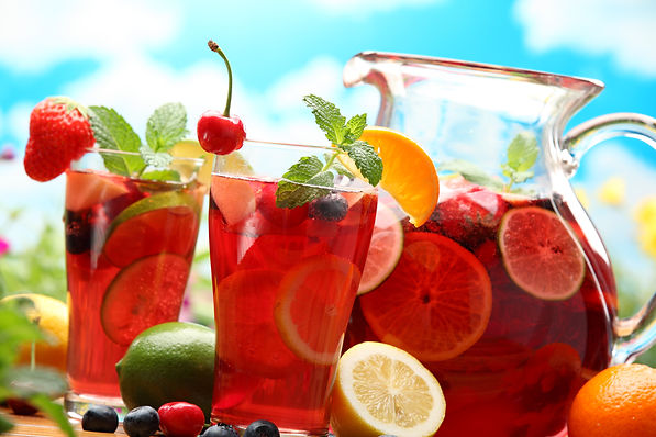 Refreshing sangria (punch) with fruits.j