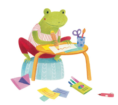 frog, contact, letters, illustration