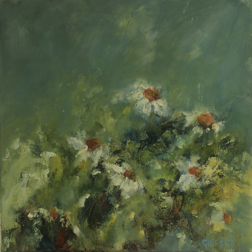 Rosemary Gifford    Daisies on Blue