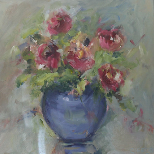 Rosemary Gifford  | Red Roses in a Blue Vase