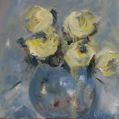 Rosemary Gifford  | Yellow Roses in a Blue Vase