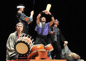 Peforming taiko in Japan
