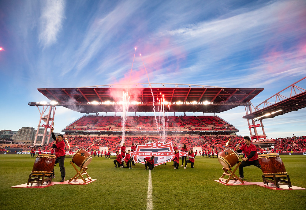 Opening ceremonies for TFC playoff game at BMO field
