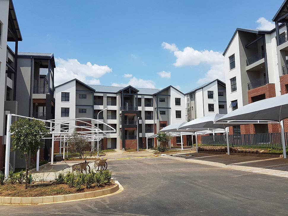 Midview Gardens is a residential development designed by Hub Architects and is located in Noordwyk, Midrand, South Africa