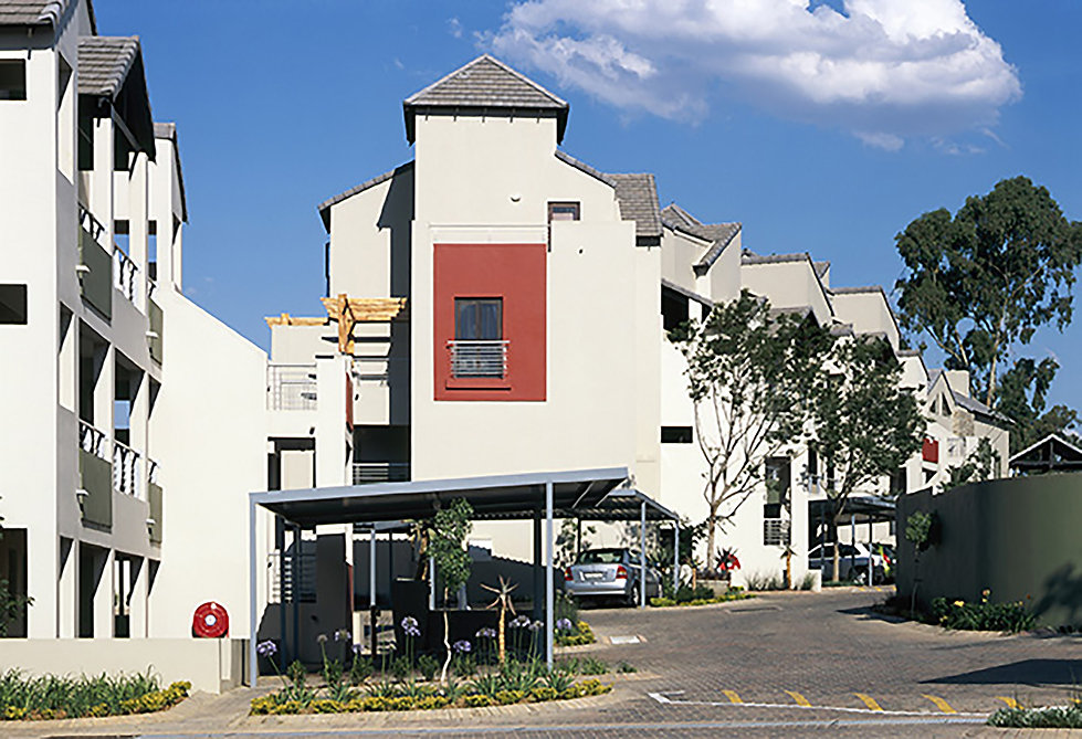 Medium Density modern housing project Estate known as The Crest Apartments is a residential development designed by Hub Architects and is located in Sunninghill, Johannesburg, South Africa
