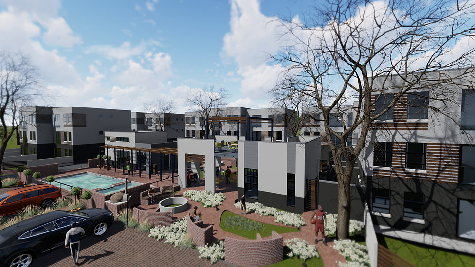Affordable housing estate designed by Hub Architects for development.