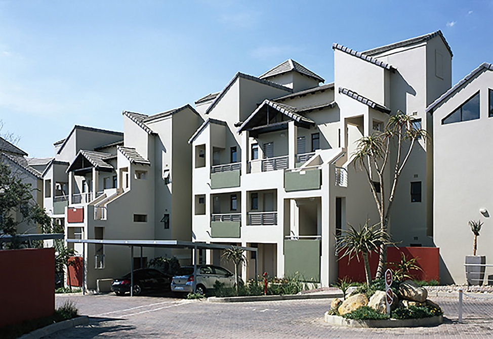 Medium Density modern residential Estate known as The Crest Apartments is a residential development designed by Hub Architects and is located in Sunninghill, Johannesburg, South Africa