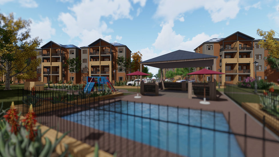 Zambezi Manor is a residential housing project/ residnetial estate designed by Hub Architects and is located in Derdepoort, Pretoria, South Africa