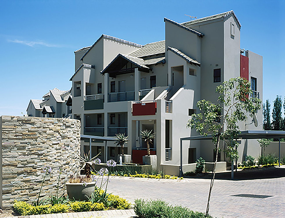 Medium Density modern urban estate known as The Crest Apartments is a residential development designed by Hub Architects and is located in Sunninghill, Johannesburg, South Africa
