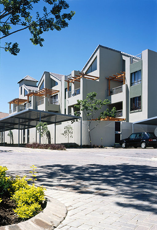 Medium Density modern hosuing estate known as The Crest Apartments is a residential development designed by Hub Architects and is located in Sunninghill, Johannesburg, South Africa