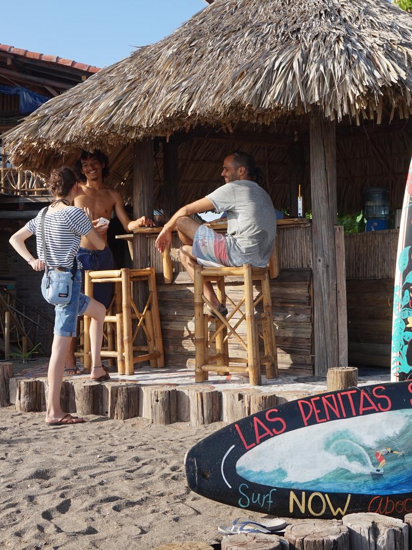 Beach bar and restaurant right at the beach in Las Penitas