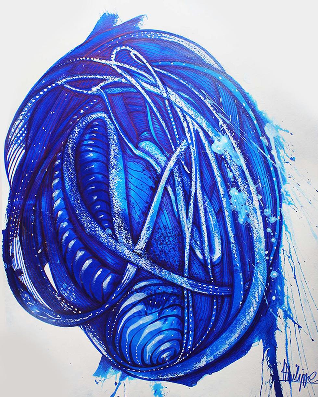 """"""" Graine """" Pigment pur de bleu majorelle sur papier"""