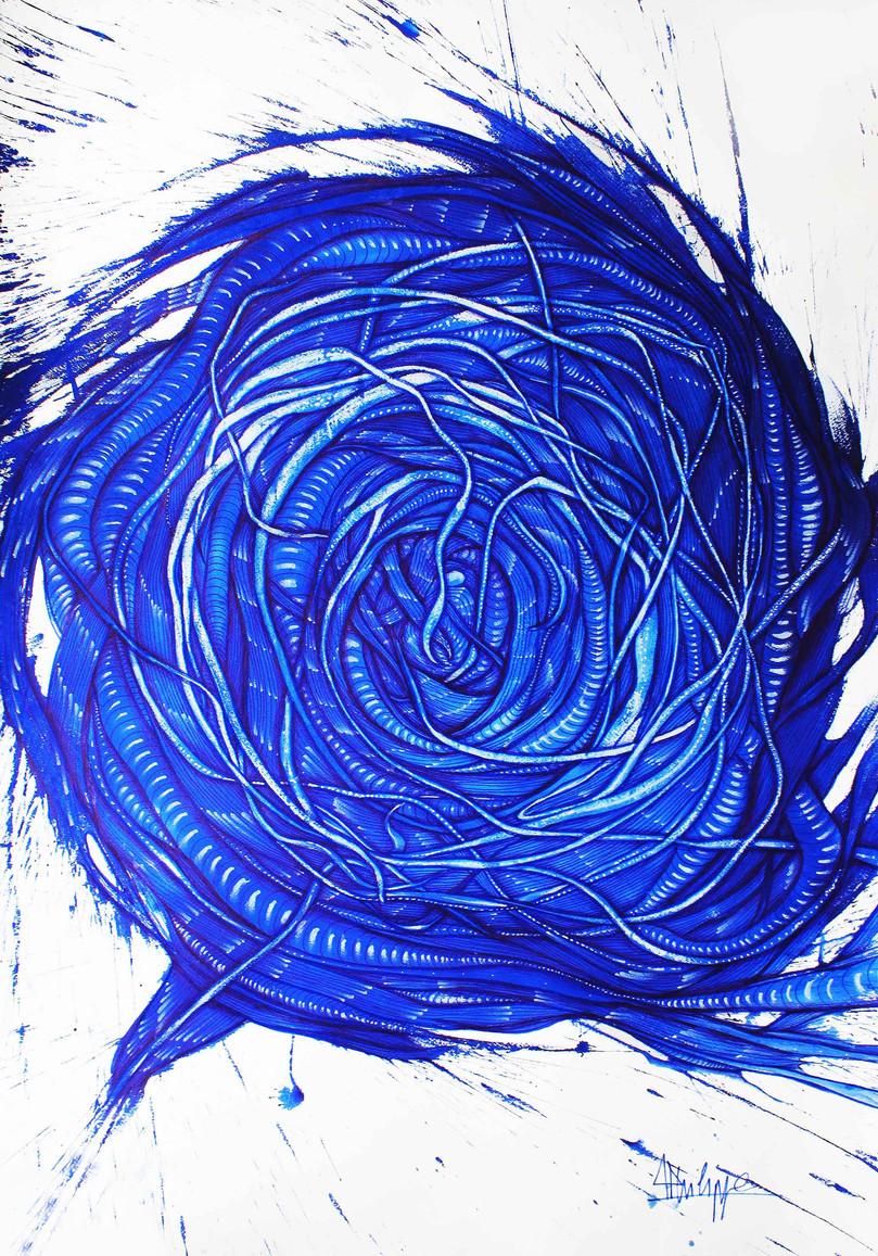 """"""" Rose """" Pigment pur de bleu majorelle sur papier"""