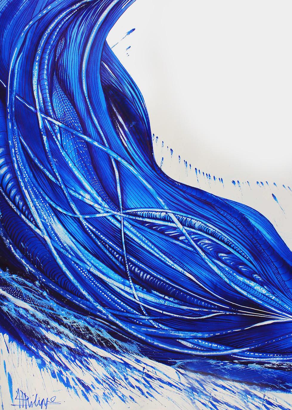 """"""" Flux """" Pigment pur de bleu majorelle sur papier"""