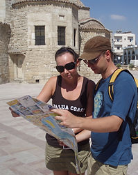 Tourist's reading our Larnaka Map