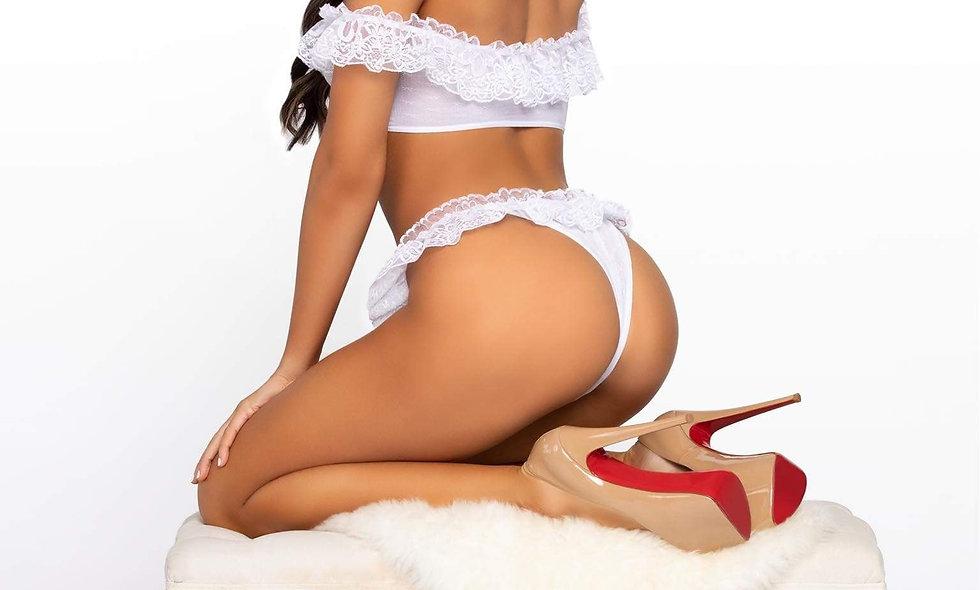 2 Pc. Lace Ruffle Crop Top and Thong Panty -  One Size - White