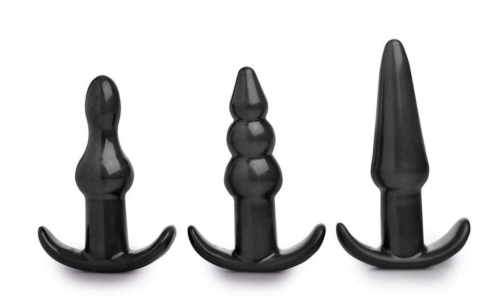 4 Piece Vibrating Anal Plug Set - Black