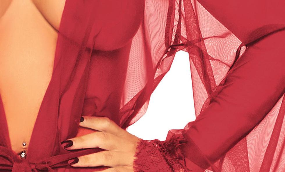 3 Pc Sheer Short Robe With Eyelash Lace Trim and Flared Sleeves - Burgandy - Xl