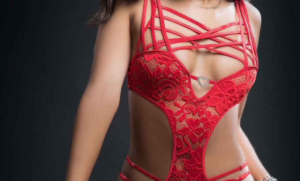 2pc Caged Teddy and Lace Garter - One Size -  Candy Red