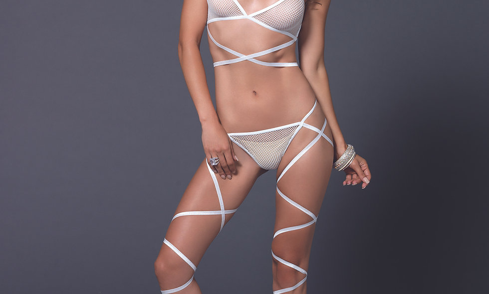 2 Pc. Wrap Around Fishnet Halter Top With Matching G-String - One Size - White