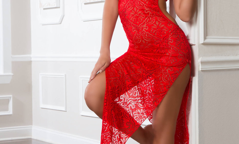 2pc Shoulder-Baring Laced Night Dress - One Size - Bright Cherry