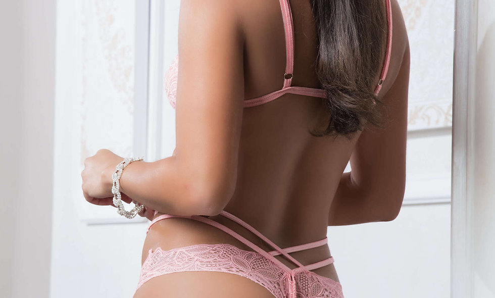 2pc Mask Up Lace Teddy - One Size - Sweet Pink