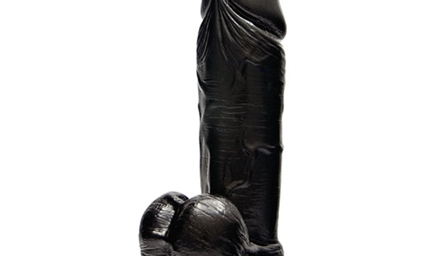 9 Inch Thick Cock With Balls & Suction - Black