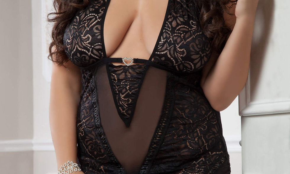 3pc Plunging Garter Lacy Slip - Queen Size - Black