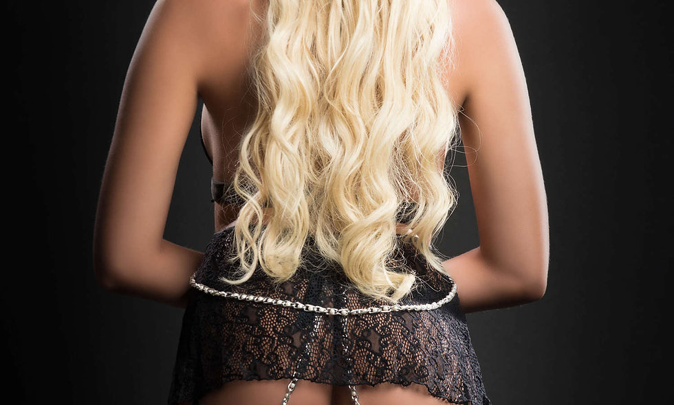 3pc Cut Out Flyaway Babydoll Adorned Pearl Chains and Garter Panty - One Size -