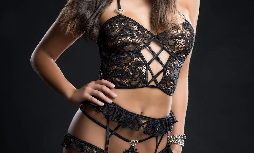 4pc Cami Top Lingerie Set With Ruffled Garter Belt and Stockings - One Size - Bl