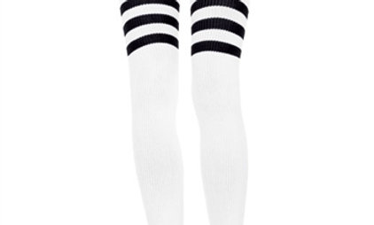 Athletic Ribbed Thigh Highs - One Size - White