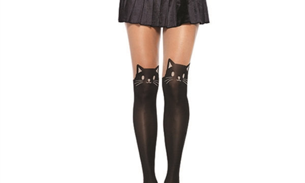 Black Cat Opaque Pantyhose - One Size