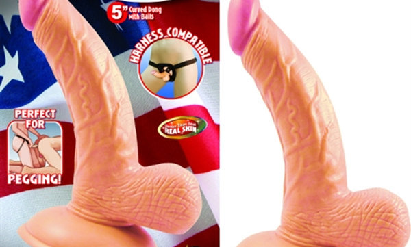 All American Mini Whoppers 5-Inch Curved Dong With Balls-Flesh