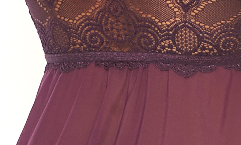 2 Pc Sheer Mesh Lace Babydoll With Matching G-String - Plum - Medium/large