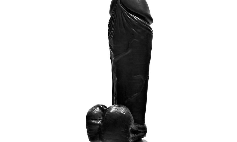 """10"""" Thick Cock W/balls & Suction - Black"""