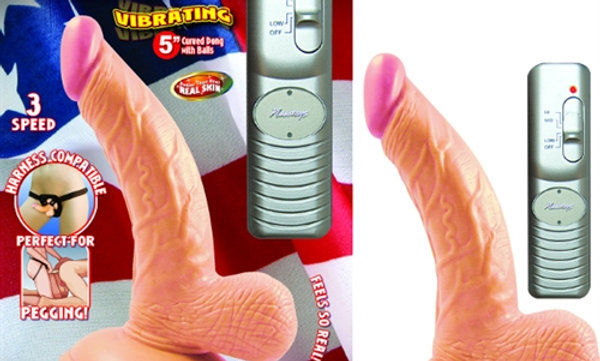 All American Mini Whoppers Vibrating 5-Inch Curved Dong With Balls-Flesh