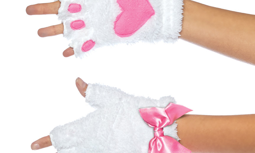 Adult Cat Paw Gloves Costume Accessory - White