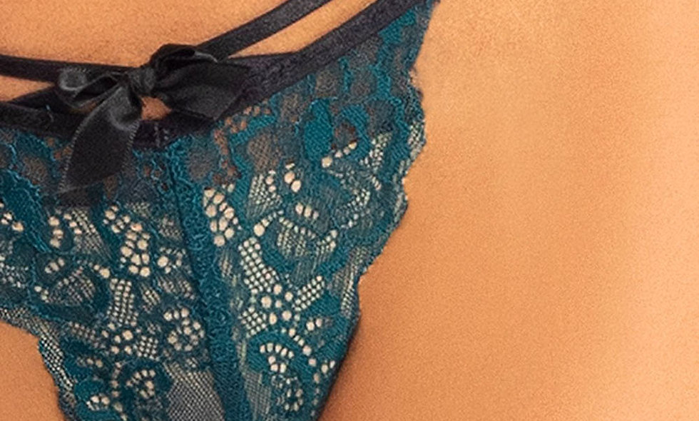 2 Pc Lace Bralette and Panty Set - Teal - S/m