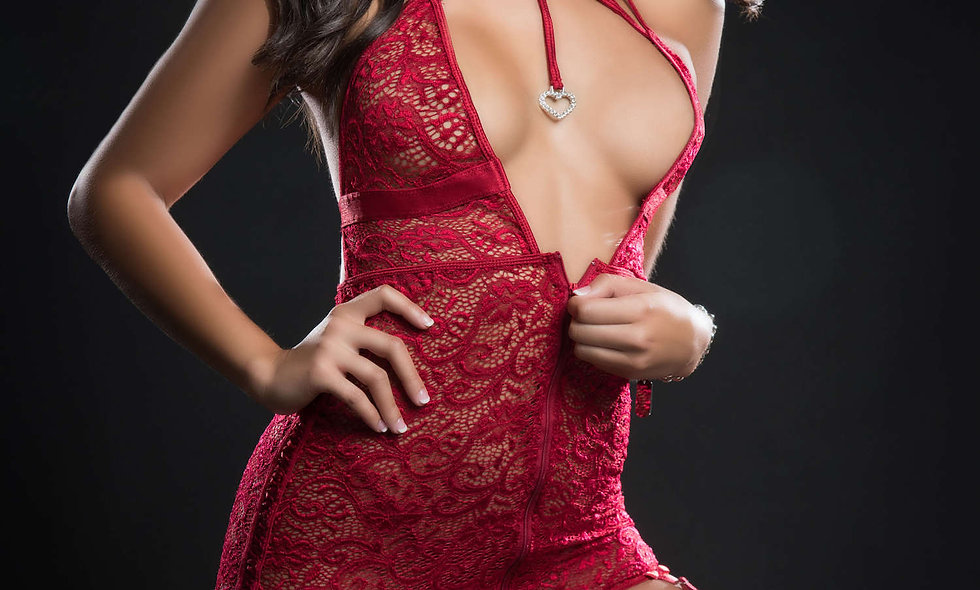 3pc Halter Garter Dress With Zipper Front - One  Size - Red Berry