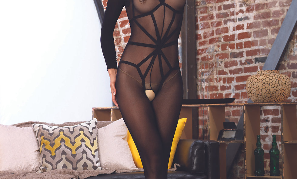 2 Pc. Opaque Long Sleeved Bodystocking - One Size - Black