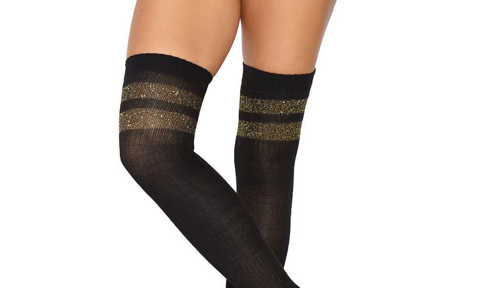 Athletic Thigh Highs - One Size - Black/gold