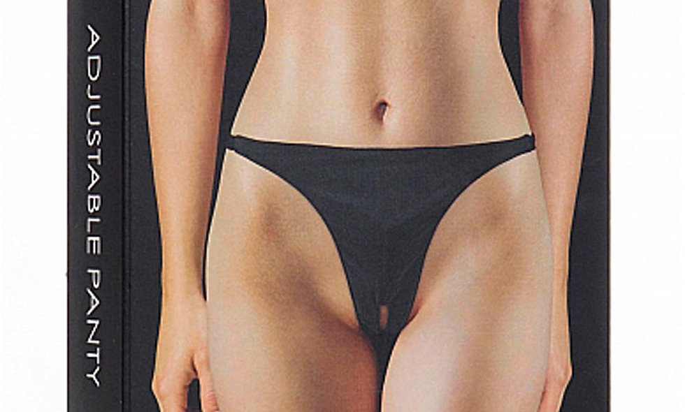 Adjustable Panty With Vibrating Bullet and Pleasure Whole - Black
