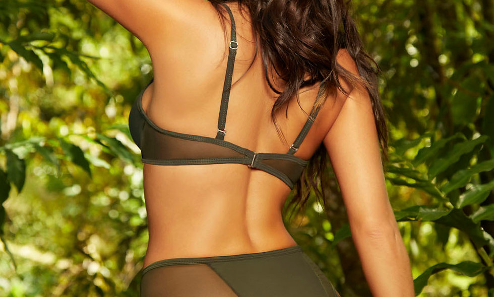 Bikini Top W / Fishnet Inserts - Olive - Extra Large