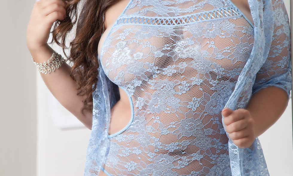 2pc Sexy Laced Robe and Bodysuit - Queen Size - Daisy Blue