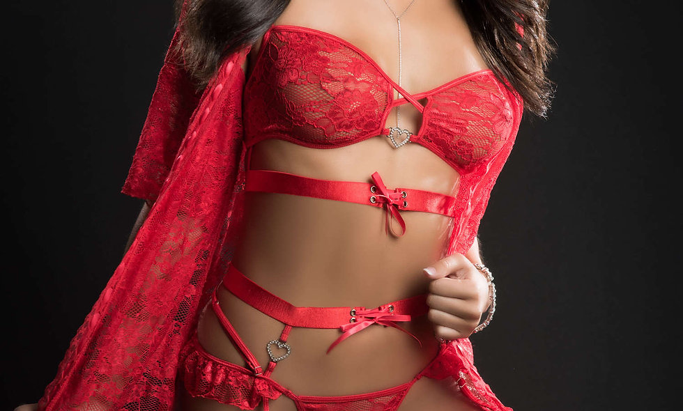 4pc Mini Robe Hiphugger and Bra Lingerie Garter  Set - One Size - Candy Red